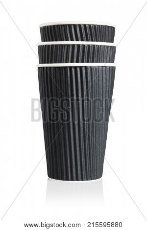 Stack of Three Black Disposable Paper Cups on White Background