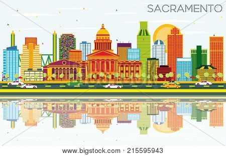Sacramento USA Skyline with Color Buildings, Blue Sky and Reflections. Business Travel and Tourism Concept with Modern Architecture.