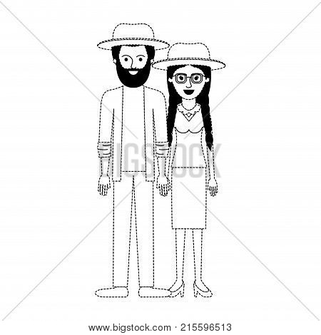 couple in black dotted silhouette and both with hat and him with beard and shirt and jacket and pants and shoes and her with glasses blouse and skirt and heel shoes with braided hair vector illustration