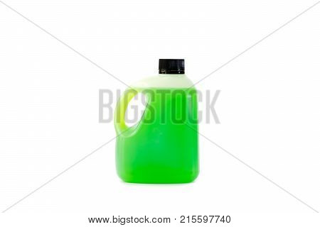Green juice in plastic bottle on white background Used for liquid products the label can be labeled on the bottle.