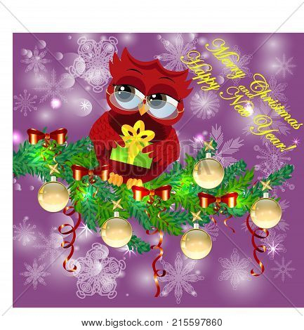 A Sweet Cartoon-like Coquettish Red Owl With A Christmas Present Sits On A Decorated With Balls, Bow