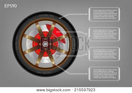 Racing wheel of car and infographic banner. Tyre and brown rim with a disc brake and red caliper. Automotive parts concept. Vector illustration design. EPS10