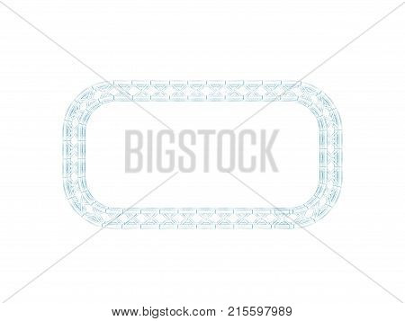 Truss frame in form of rectangle.Isolated on white background.Sketch illustration.