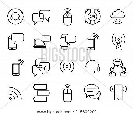 Simple collection of wireless communication related line icons. Thin line vector set of signs for infographic, logo, app development and website design. Premium symbols isolated on a white background.