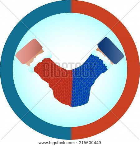 The Concept Of Love And Relationship Is One Mittens For Two. Red And Blue Mittens For Two As A Symbo