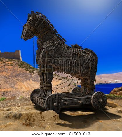 3D render of Homer's Trojan Horse in front of the Walls of Troy and the Aegean Sea. poster
