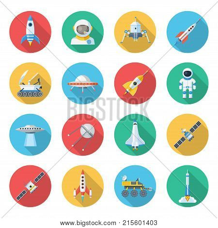 Space ship icon set. Spacecraft and unidentified flying object, rocket ship, vehicles and machines to fly in outer space. Vector flat style cartoon illustration isolated on white background