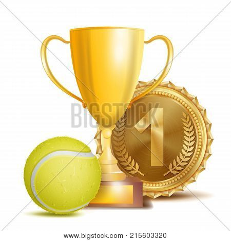 Tennis Award Vector. Sport Banner Background. Yellow Ball, Gold Winner Trophy Cup, Golden 1st Place Medal. 3D Realistic