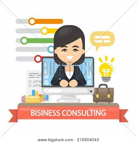 Business consulting illustration. Business coach in the screen.