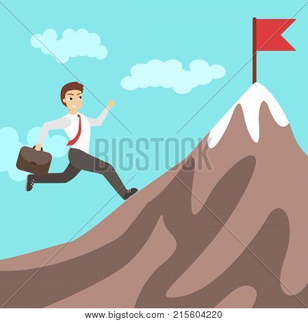 Businessman running on mountain. Concept of achieving success. Red flag.