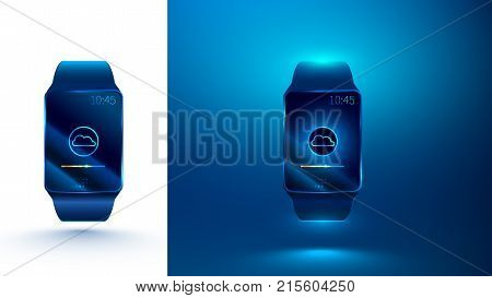 smart watch synchronizes with cloud storage on the Internet using a wireless connection. smart watch on a blue and white background