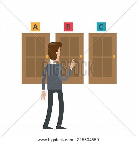 Choosing the door. Isolated businessman choosing the right direction.