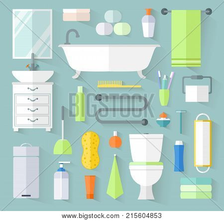A set of bathroom icons. Vector illustration. Toiletries poster