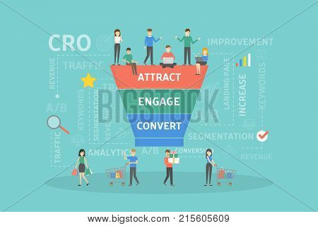 CRO concept illustration. Conversion rate optimization business infographics.