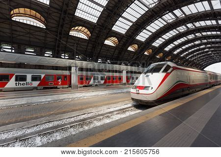 MILAN, ITALY - JUNE 12, 2017: Frecciabianca train arrives to the central train station. Frecciabianca trains operate at speeds of up to 250 km/h