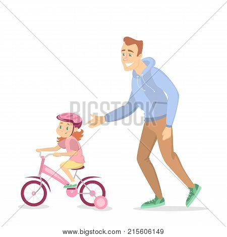 Father teaching girl to ride the bike on white background.