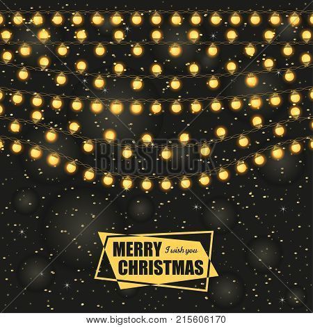 Christmas background with light lamps garlands. Stock vector illustration.