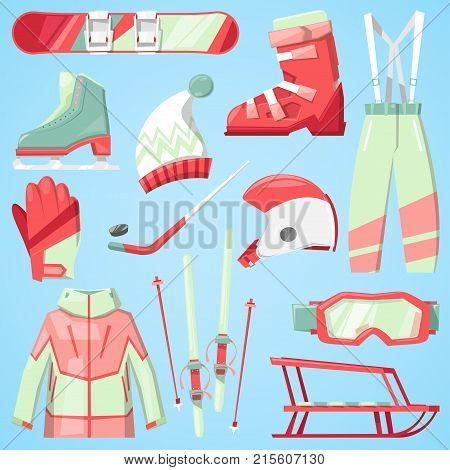 Winter vector sport and clothes icons snow ski, snowboard helmet and board, sledge mountain cold extreme sportsmen clothing fun active wintertime sporting goods season illustration isolated on white.