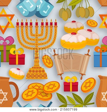 Hanukkah seamless pattern with Torah, menorah and dreidels. Vector illustration.