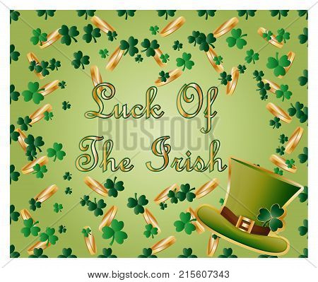 Greeting Card Of St. Patrick With Sparkling Green Leaves Of Clover, Gold Coins, Green Hat And Inscri