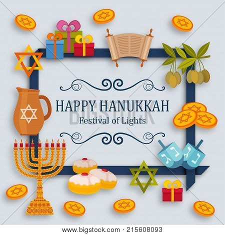 Hanukkah greeting card with Torah, menorah and dreidels. Place for your Text. Vector illustration.