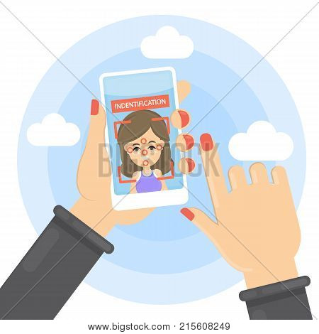 Face identification illustration. Woman with face recognition on smarphone.