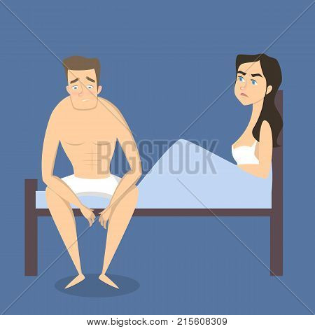 Intimate problem illustration. Man with erectile dysfunction and angry woman.