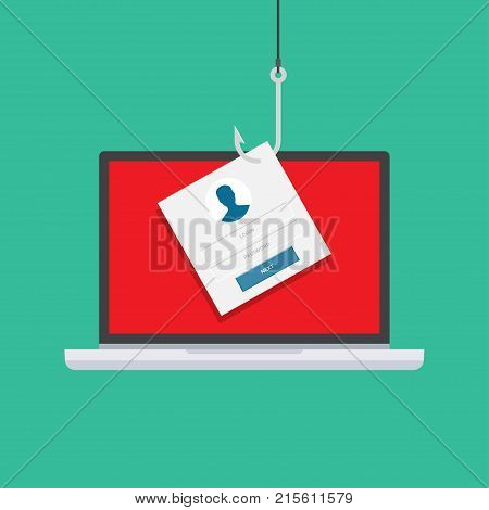 Computer internet security concept. Internet phishing hacked login and password. Vector illustration