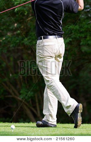 Doing A Golf Stroke