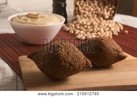 Kibbeh Or Kibe, Quibe With Hummus.