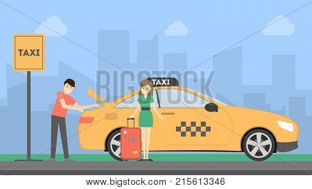 Woman with taxi driver putting luggage in the car on taxi stop.