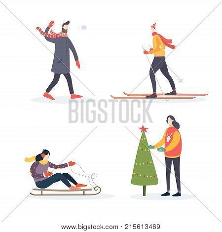 Winter illustration peoples: man in scarf plays snowballs, skier, girl on sledding, woman decorates Christmas tree. Vector illustration.