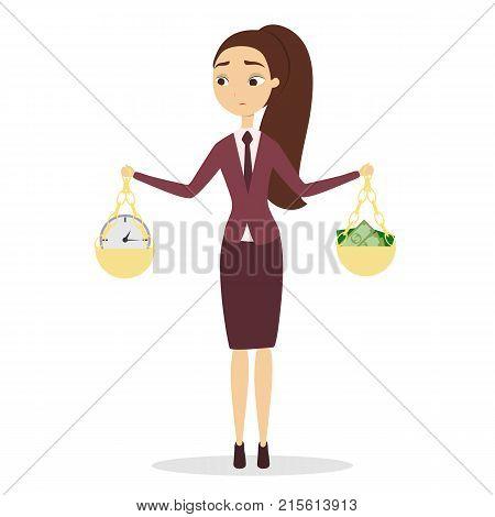Time vs money. Woman balancing money and time.