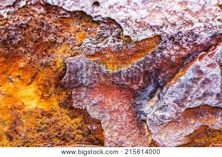 Rust corrosion iron metal oxide texture or rustic old rough crack detail industrial background