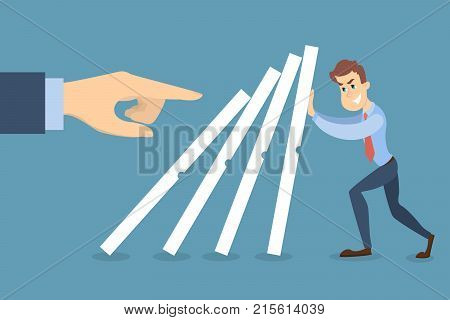 Businessman trying to stop dominoes. Concept of risk.
