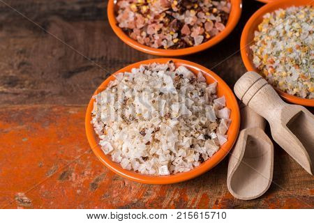 Variety Of Sea Salt, Pink Himalayan Salt, Colorful Salt With Dried Chili Pepper, Herbs And Spices.