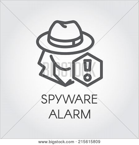 Spyware alarm icon in line design. Abstract human figure in hat and exclamation mark contour pictograph. Spy outline sign. Criminal, suspicious man, warning danger concept. Vector illustration