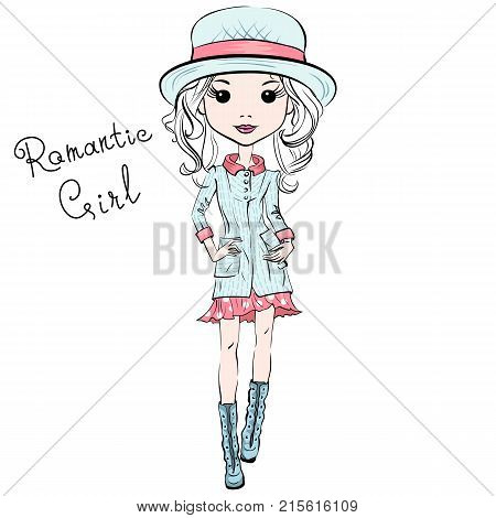 Vector beautiful fashion hipster girl top models in autumn clothes, hat and boots, jacket and skirt