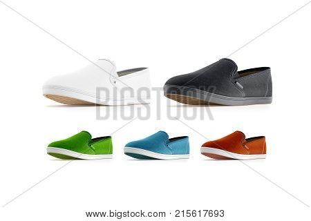 Blank colored slip-on shoes mockup isolated 3d rendering. Plain hipster slipon mock up template stand profile view. Urban skate shoes design with clear label presentation.