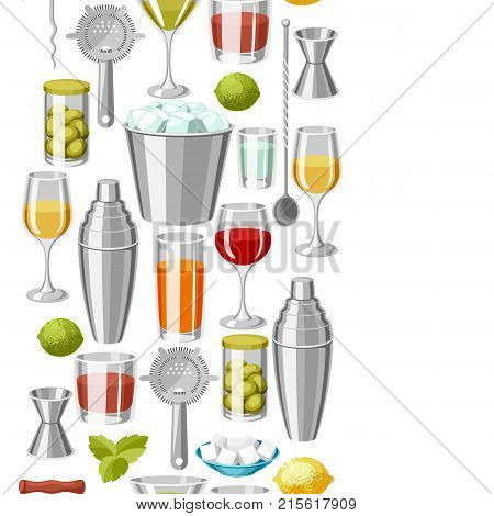 Cocktail bar seamless pattern. Essential tools, glassware, mixers and garnishes