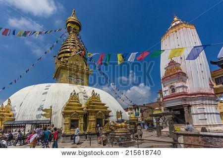 Big Stupa In The Swayambhunath Stupa, Kathmandu