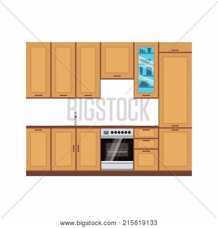 Kitchen design interior vector modern illustration room. Furniture drawing home line. Stove food cooking flat style cook
