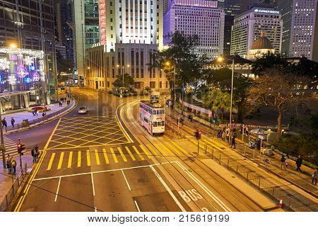 HONG KONG - DECEMBER 25, 2015: double-decker tramway in Hong Kong at night.