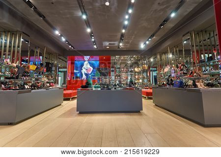 SINGAPORE - NOVEMBER 08, 2015: interior of Kurt Geiger store at The Shoppes at Marina Bay Sands. Kurt Geiger is a British footwear retailer.