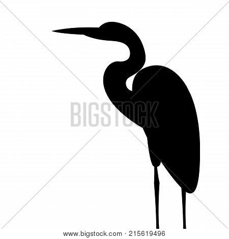 heron vector illustration black silhouette profile side