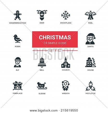 Holiday season, Christmas - line design icons set. Traditional symbols of New Year. Snowflake, noel, gingerbread man, deer, robin, santa, elf, bell, church, house, fireplace, sledge, wreath, mistletoe
