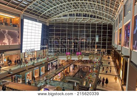 SINGAPORE - NOVEMBER 07, 2015: inside of The Shoppes at Marina Bay Sands.