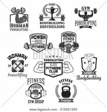 Gym and ironman bodybuilding or fitness club or workout sport center icons templates set. Vector badges of muscle man biceps arm with barbell and powerlifting dumbbell with stars and winner cup