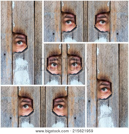 abstract collage of the human eye voyeur spying through a hole in the old wooden fence