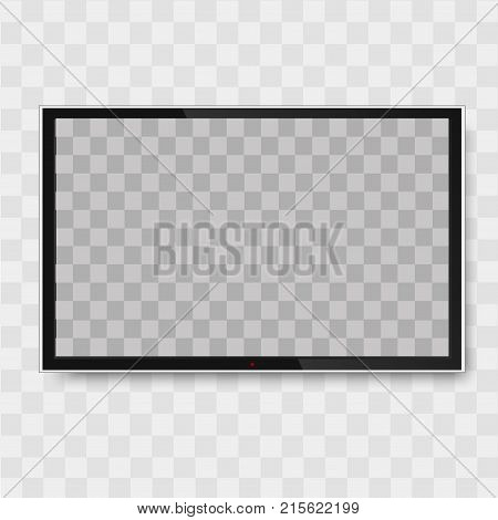 Black monitor on transparent background. TV screen, led type or lcd. Vector.